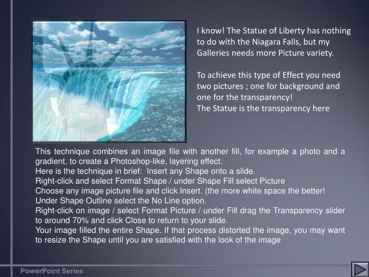 I know! The Statue of Liberty has nothing to do with the Niagara Falls, but my Galleries needs more ...