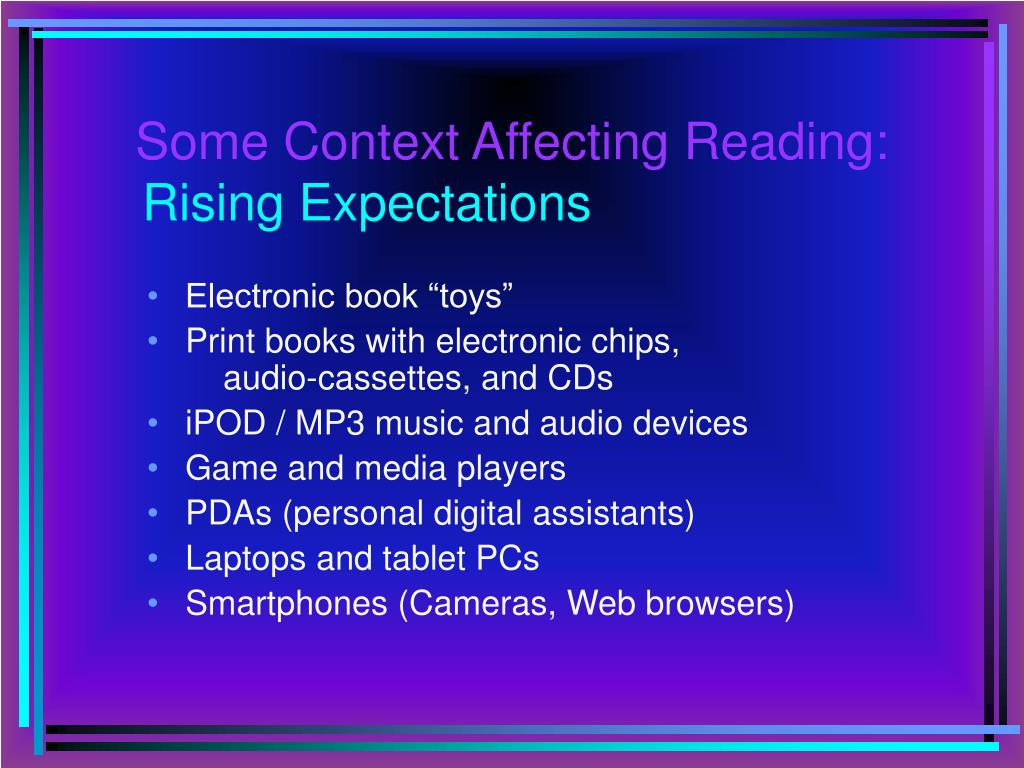Some Context Affecting Reading: