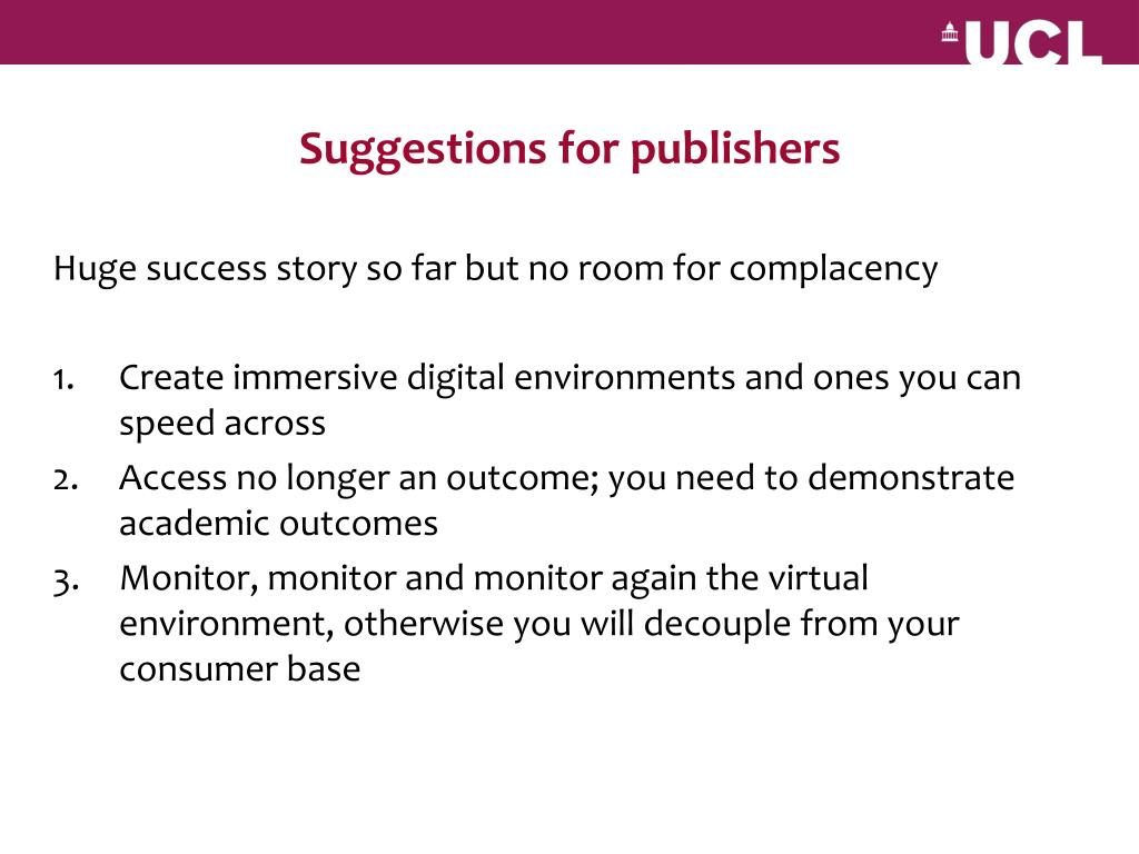 Suggestions for publishers