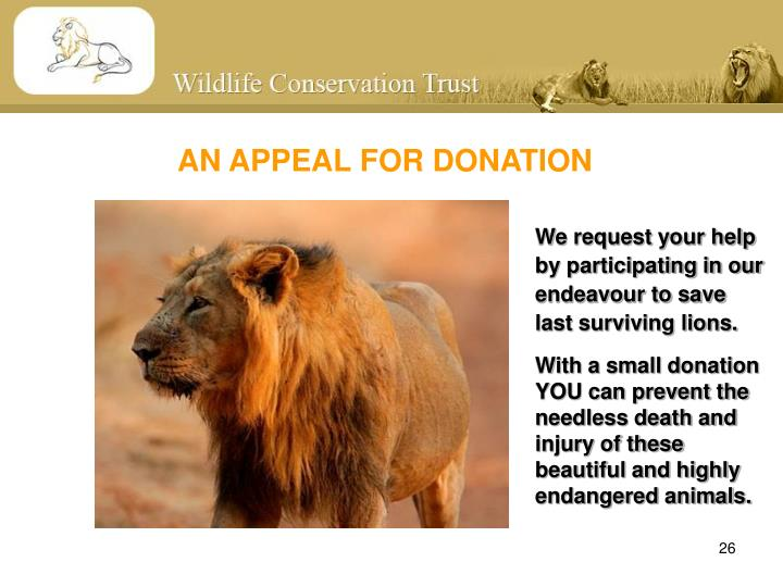 AN APPEAL FOR DONATION