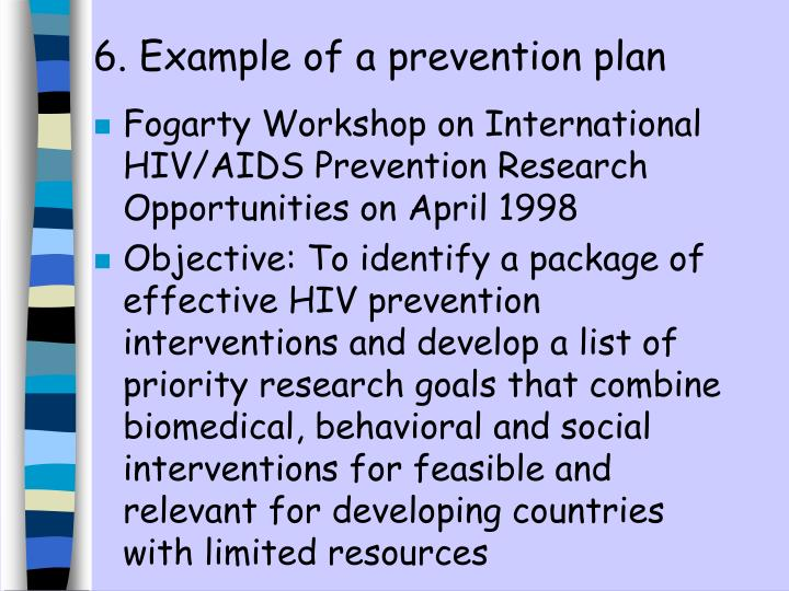 6. Example of a prevention plan
