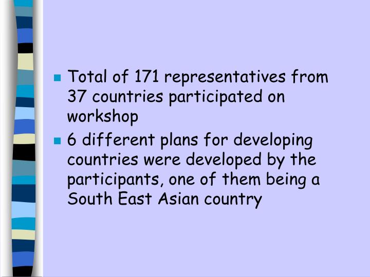 Total of 171 representatives from 37 countries participated on workshop