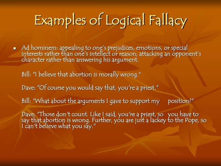 Examples of Logical Fallacy