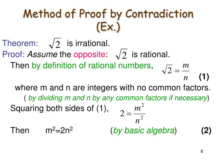 Method of Proof by Contradiction (Ex.)