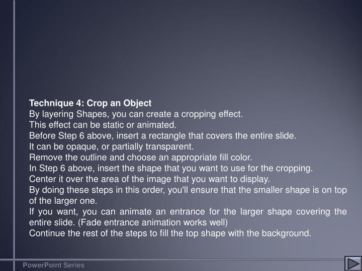 Technique 4: Crop an Object