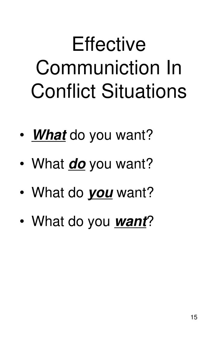 Effective Communiction In Conflict Situations