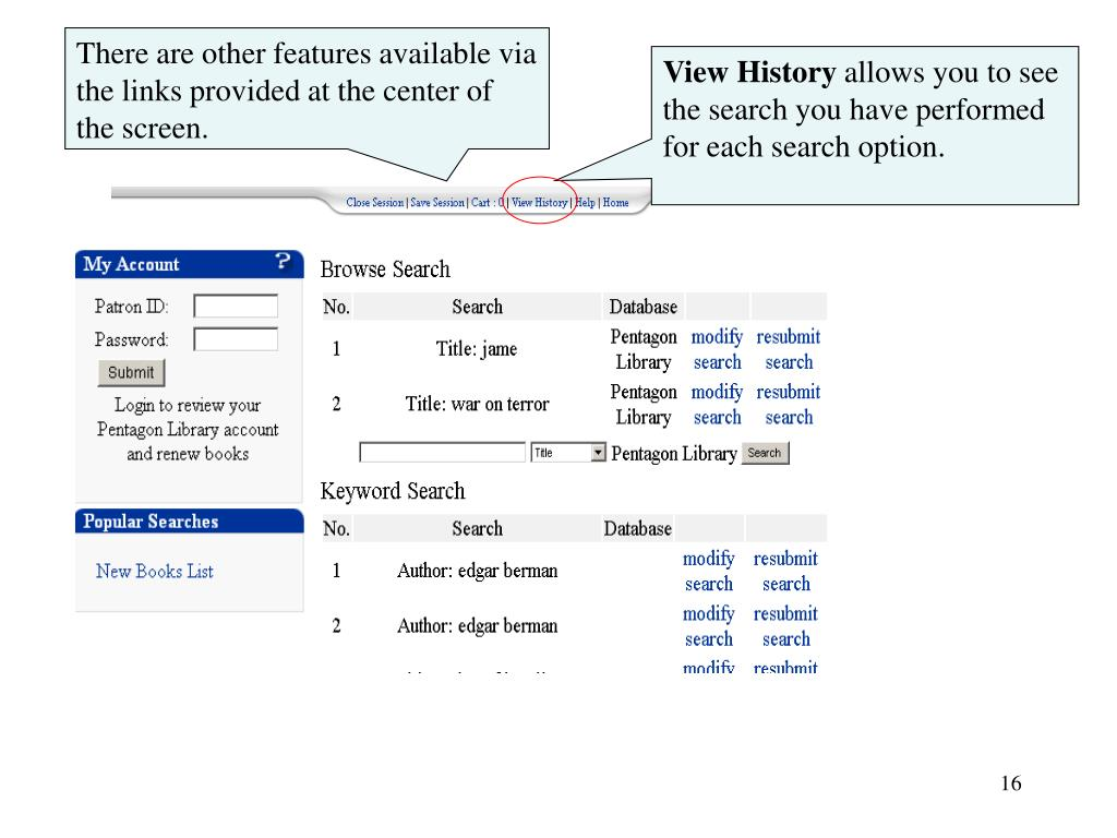 There are other features available via the links provided at the center of  the screen.