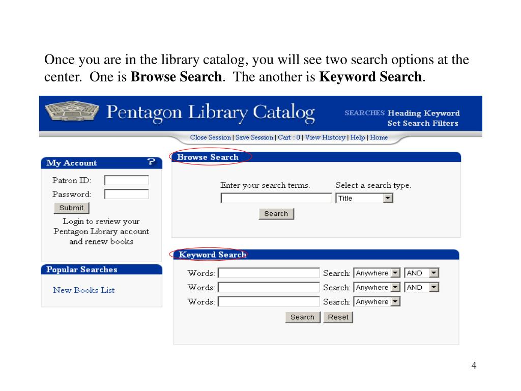 Once you are in the library catalog, you will see two search options at the center.  One is