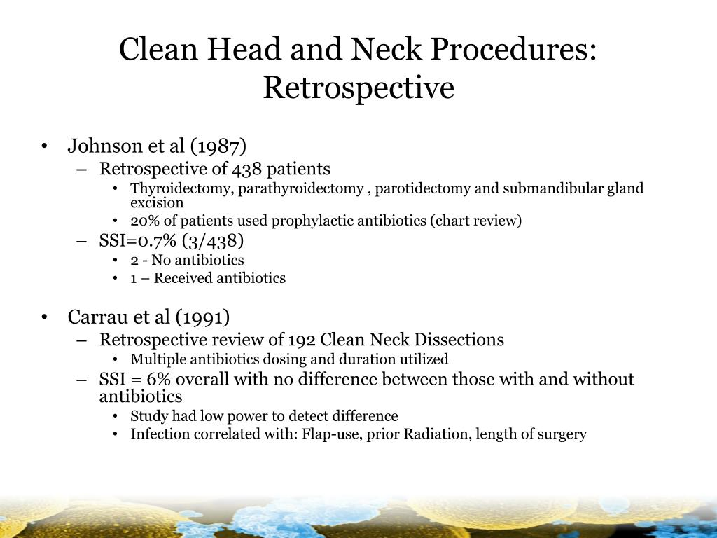 Clean Head and Neck Procedures: Retrospective