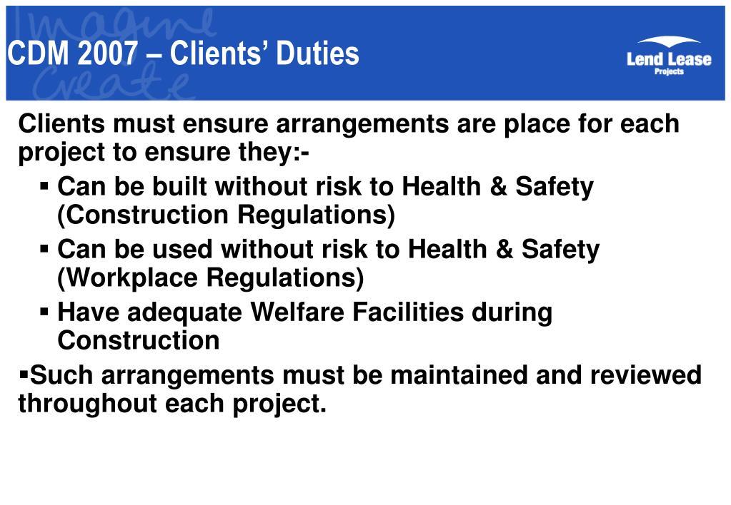 CDM 2007 – Clients' Duties