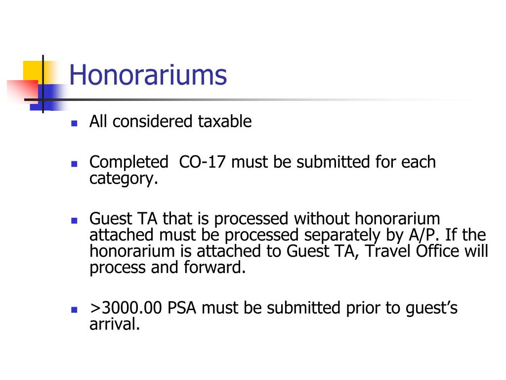 Honorariums