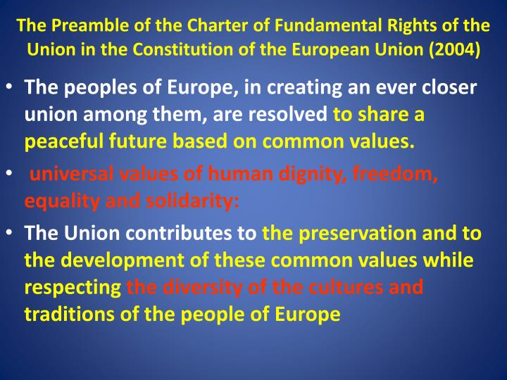 The Preamble of the Charter of Fundamental Rights of the Union in the Constitution of the European Union (2004)