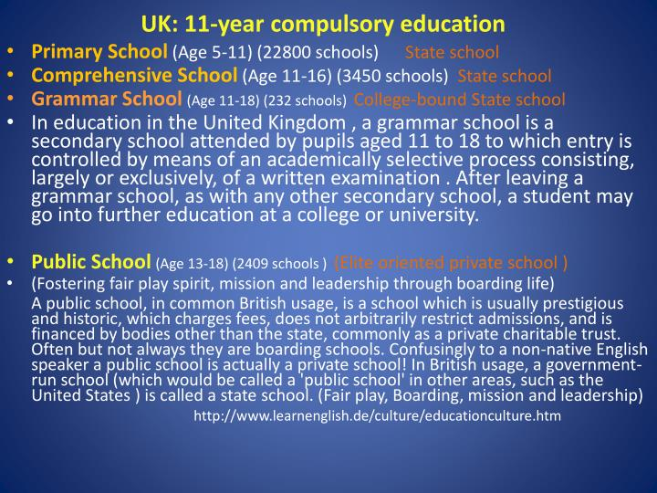 UK: 11-year compulsory education