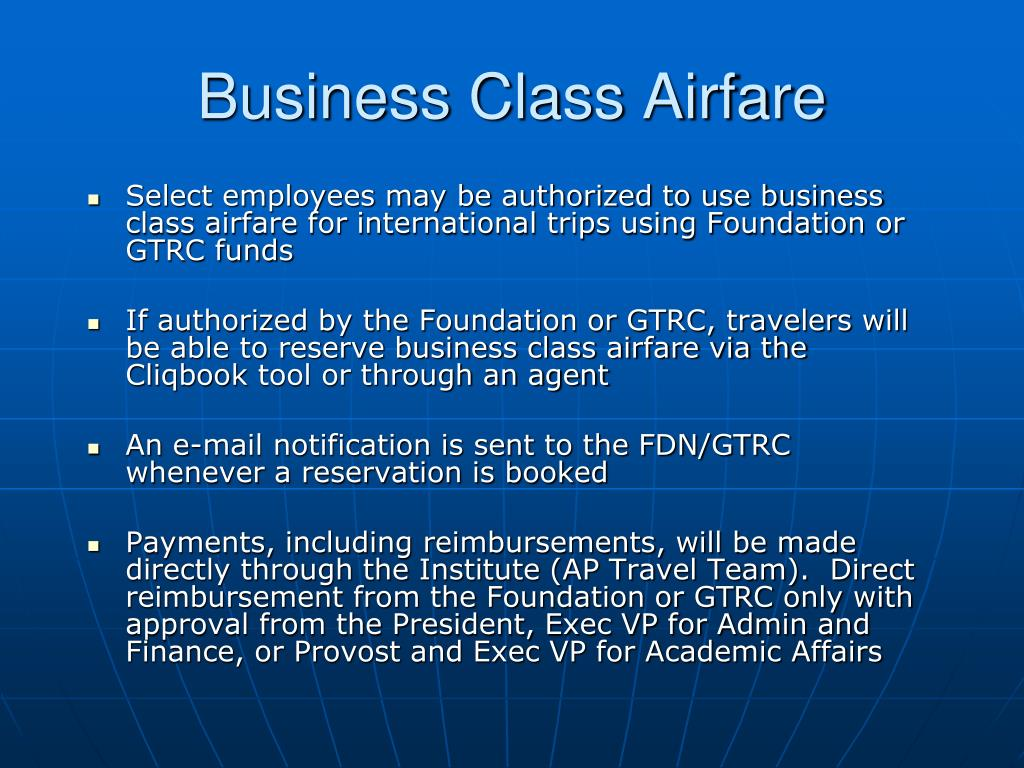 Business Class Airfare