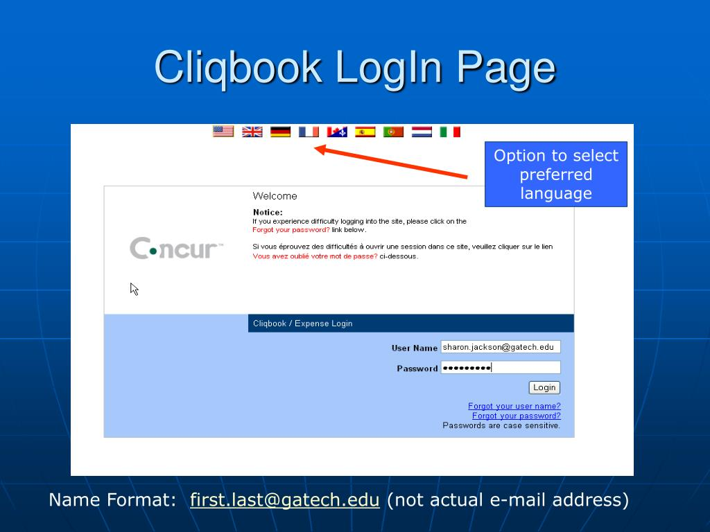 Cliqbook LogIn Page