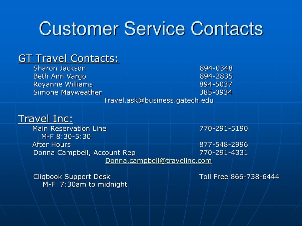 Customer Service Contacts
