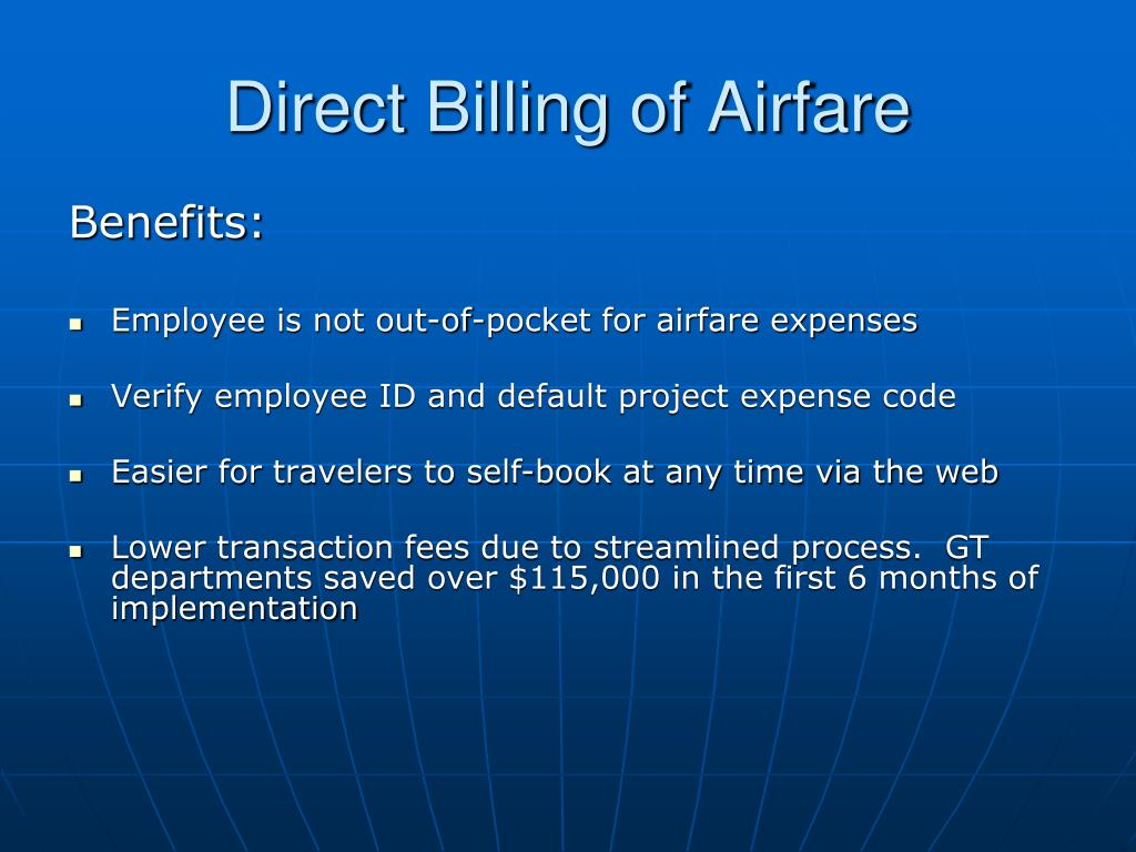 Direct Billing of Airfare