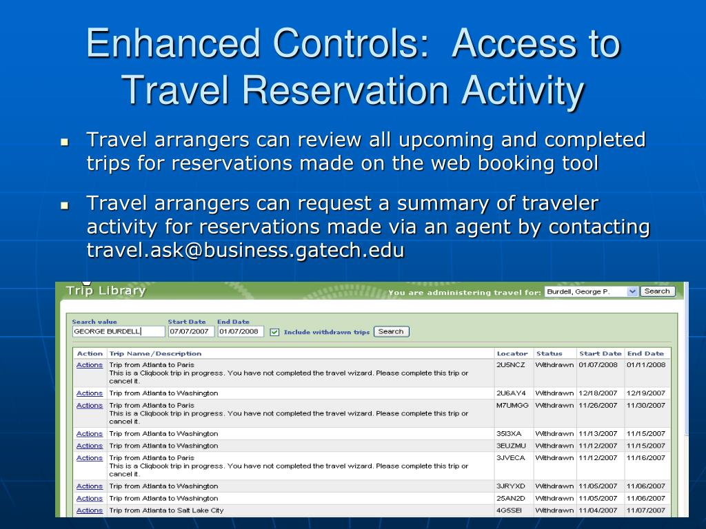 Enhanced Controls:  Access to Travel Reservation Activity