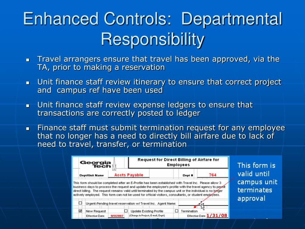 Enhanced Controls:  Departmental  Responsibility