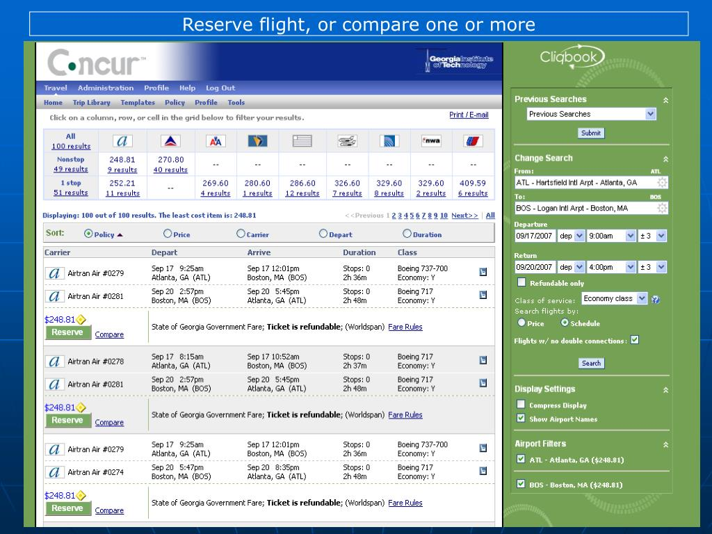 Reserve flight, or compare one or more