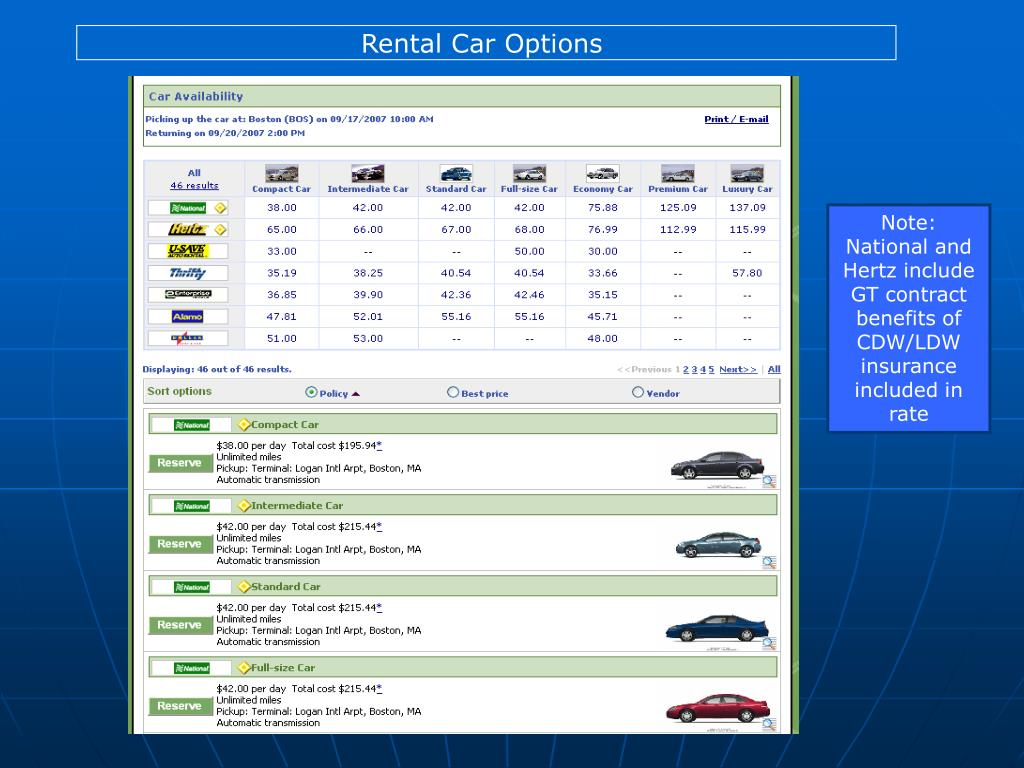 Rental Car Options