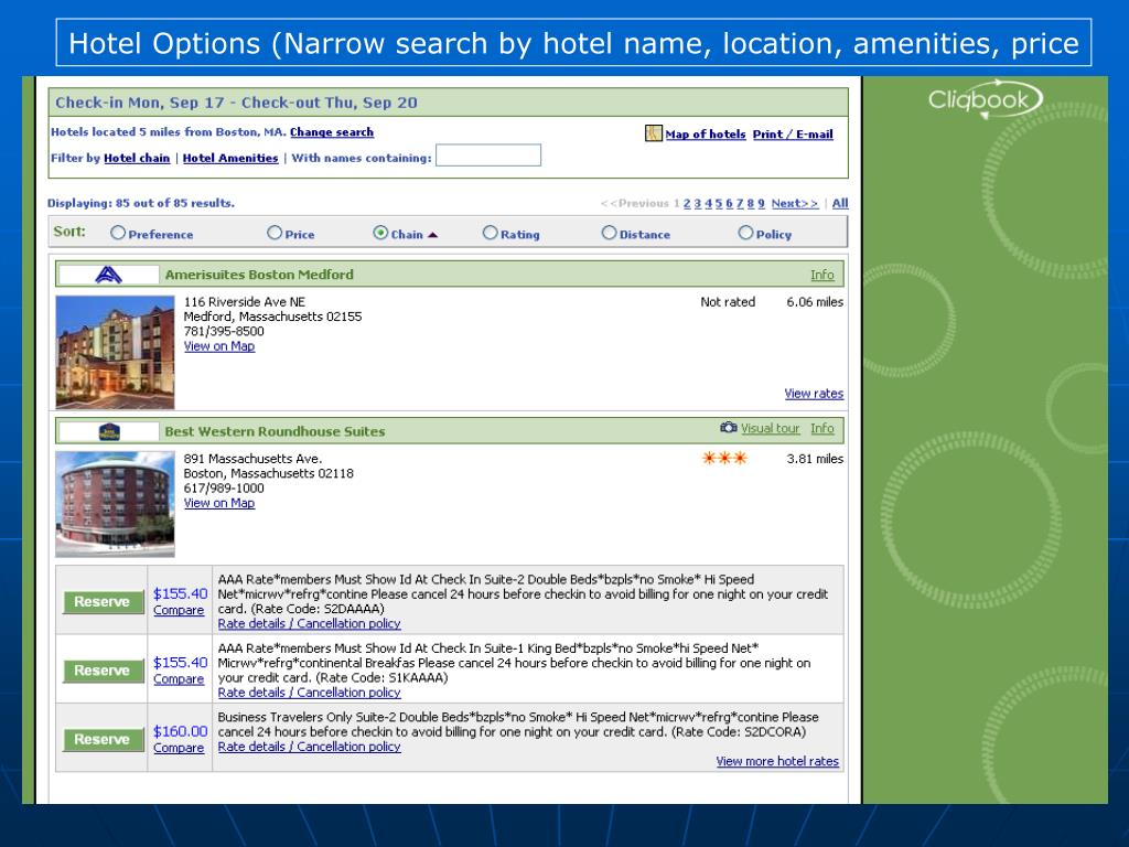 Hotel Options (Narrow search by hotel name, location, amenities, price