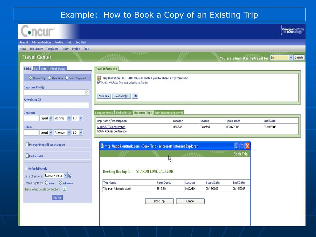 Example:  How to Book a Copy of an Existing Trip