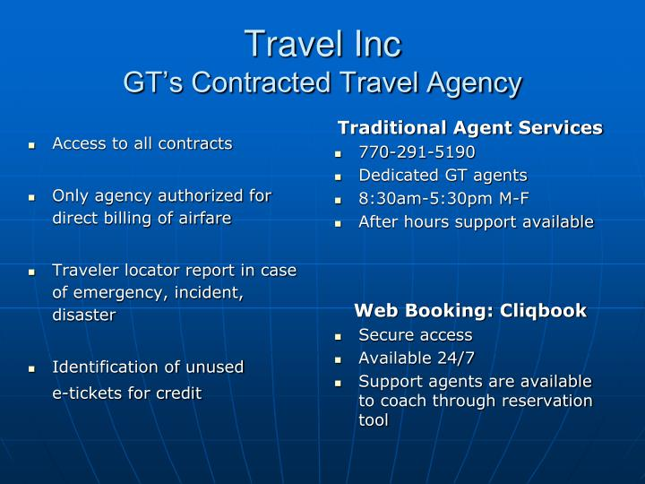 Travel inc gt s contracted travel agency