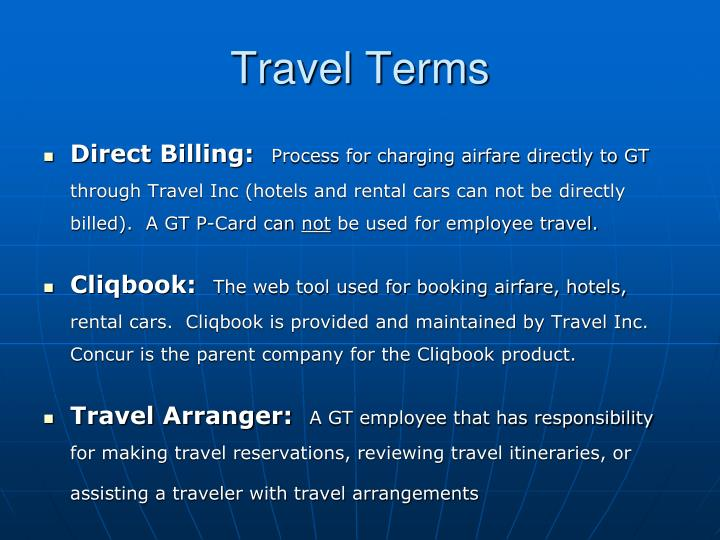 Travel terms