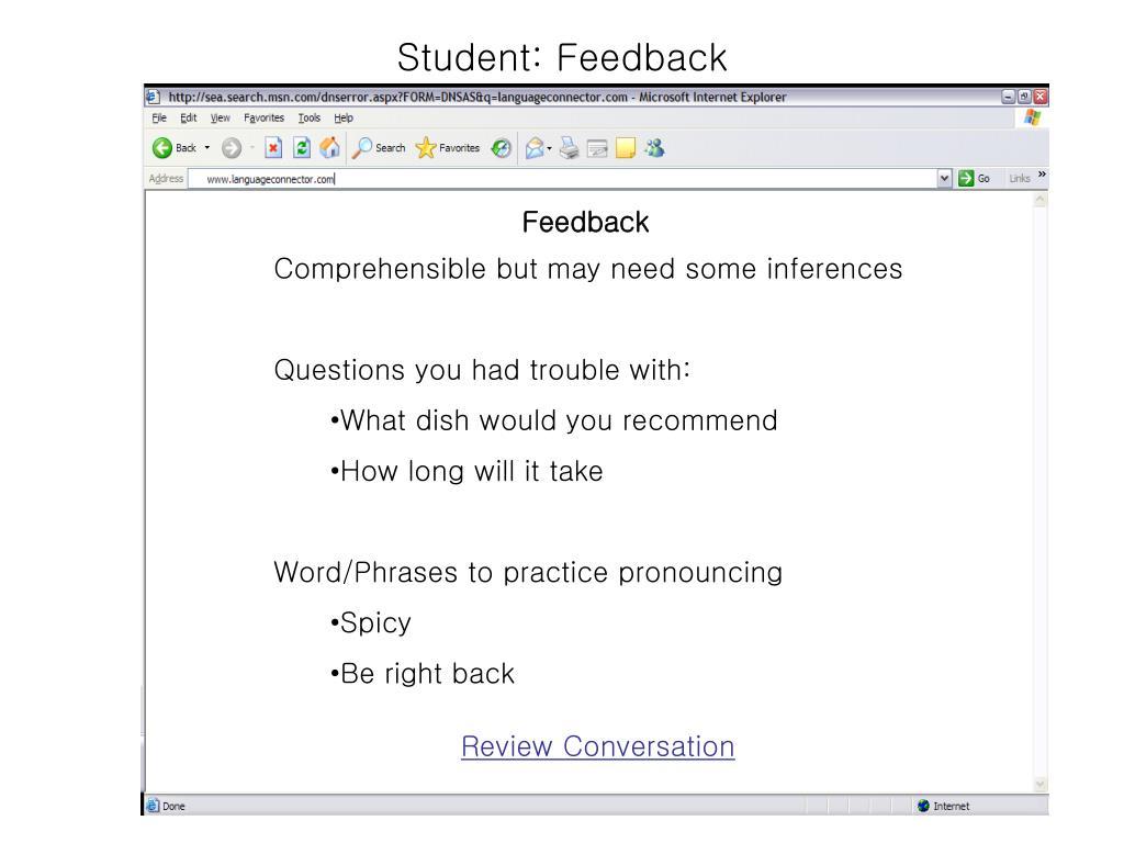 Student: Feedback