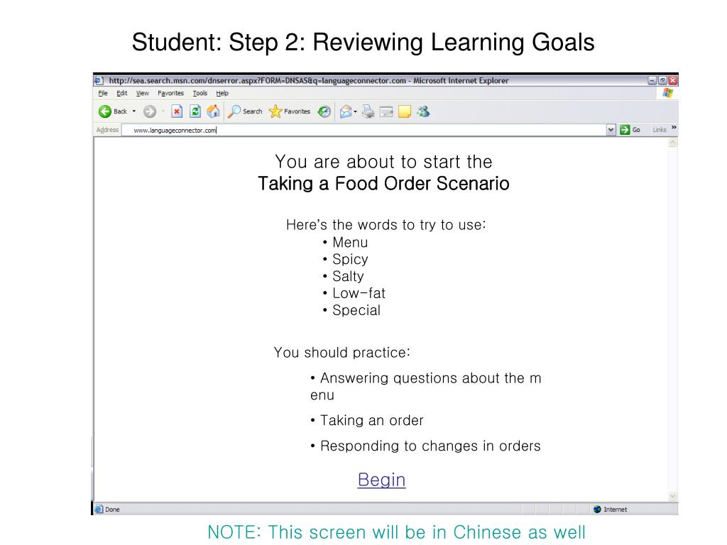 Student: Step 2: Reviewing Learning Goals