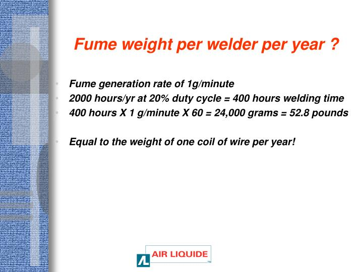 Fume weight per welder per year ?