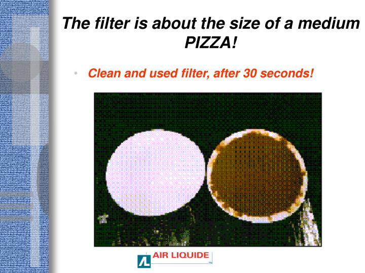 The filter is about the size of a medium PIZZA!