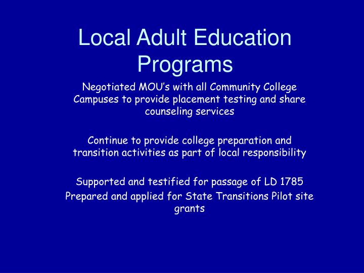 Local Adult Education Programs