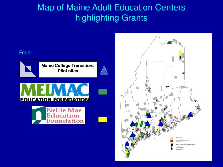 Map of Maine Adult Education Centers