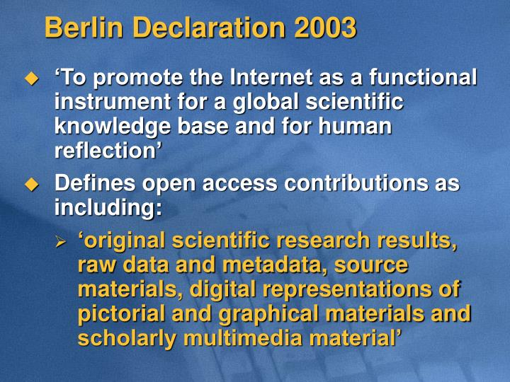 Berlin Declaration 2003