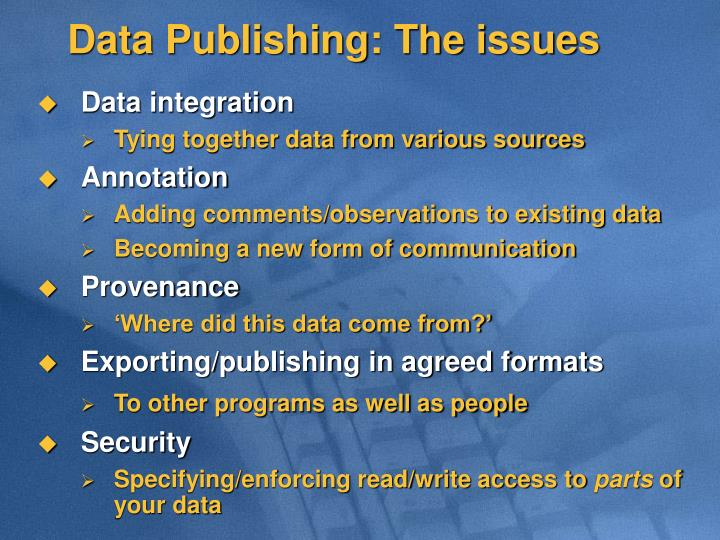 Data Publishing: The issues