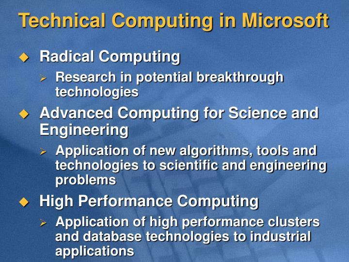 Technical Computing in Microsoft