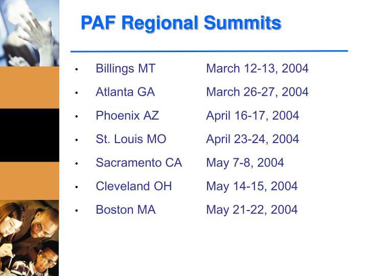 PAF Regional Summits
