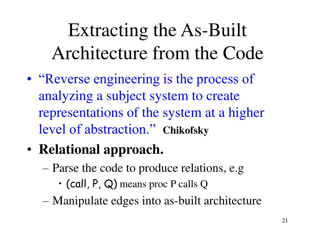 Extracting the As-Built Architecture from the Code