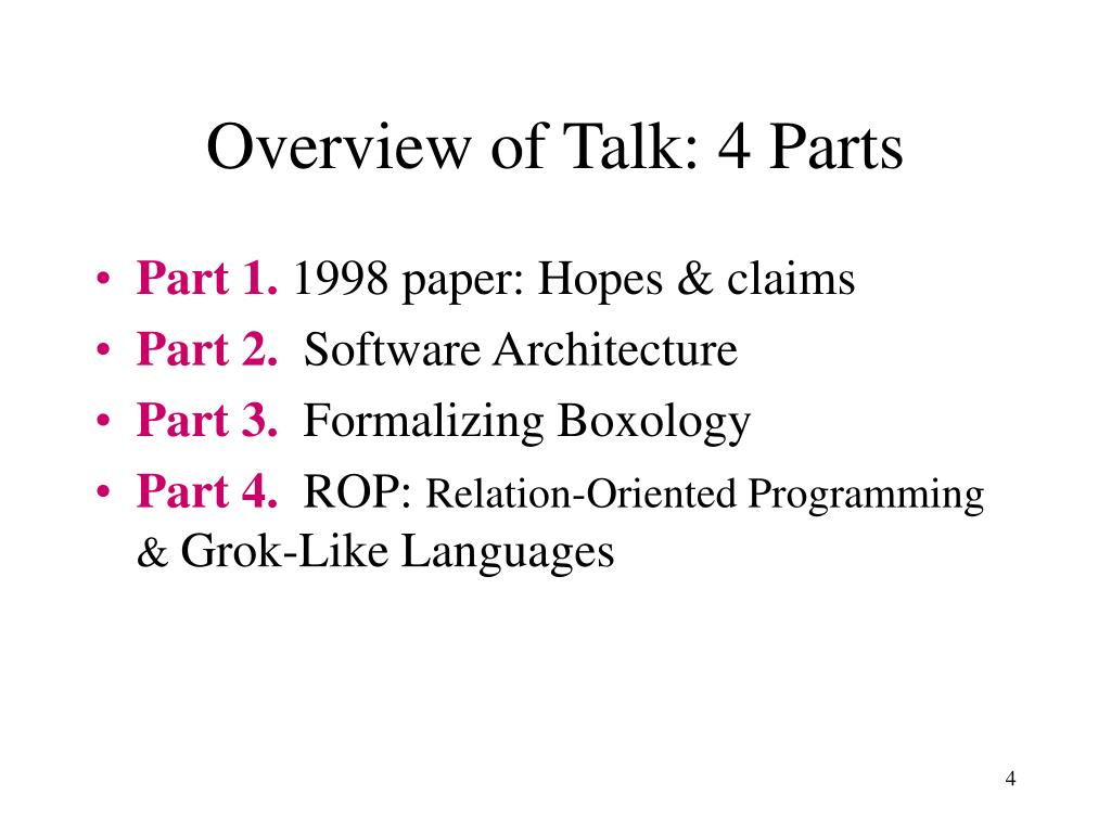 Overview of Talk: 4 Parts
