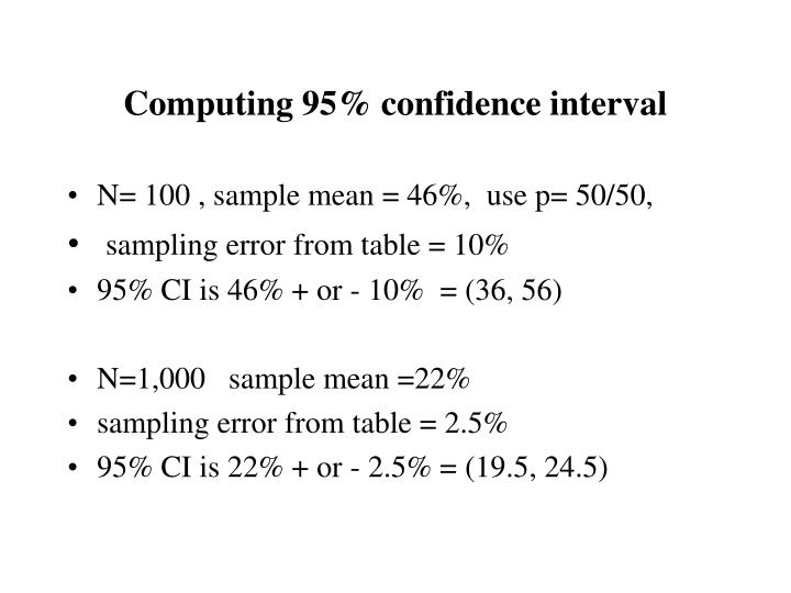 Computing 95% confidence interval