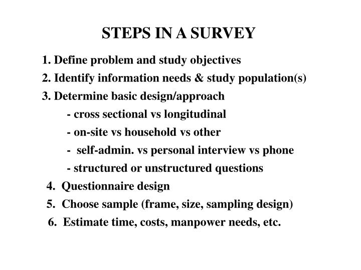 STEPS IN A SURVEY