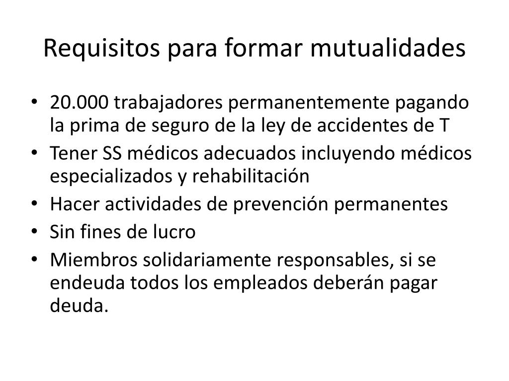 Requisitos para formar mutualidades