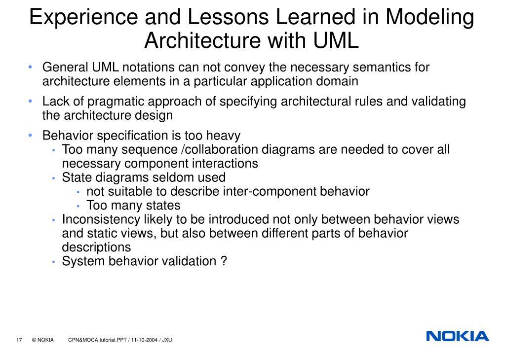 Experience and Lessons Learned in Modeling Architecture with UML