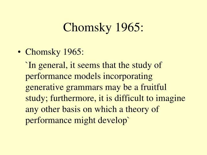 Chomsky 1965: