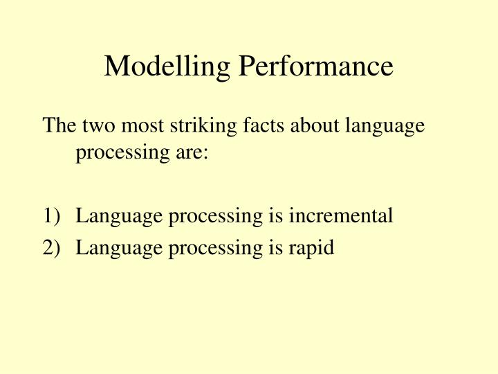Modelling Performance