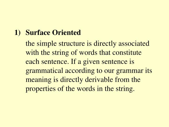Surface Oriented
