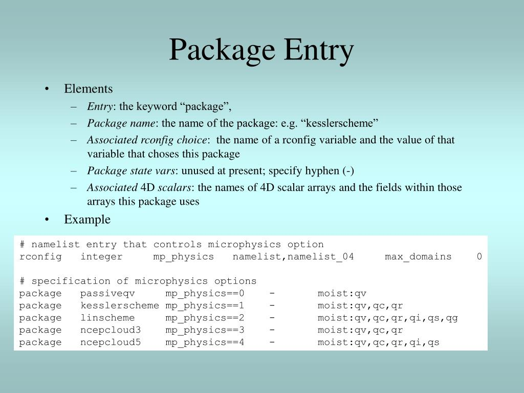 Package Entry