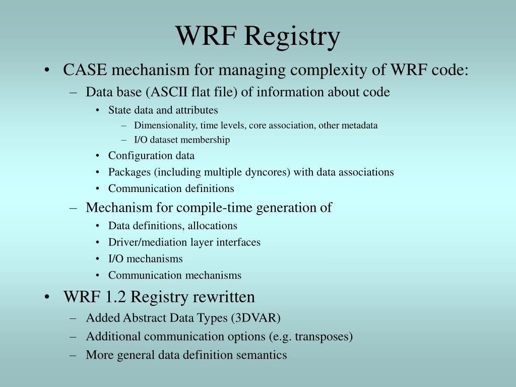 WRF Registry